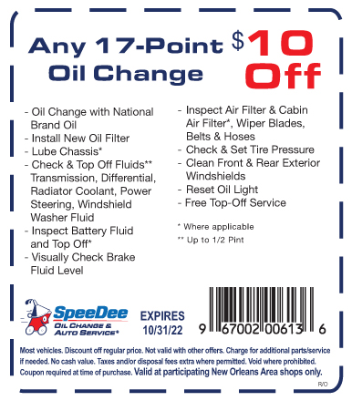 New Orleans Coupons >> Speedee New Orleans 17 Point Oil Change Coupon 10 Off